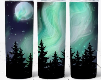 Northern Lights Tumbler Sublimation Wrap - Ready to Press Sublimation Transfer - 20 oz Straight or Tapered Tumbler, Tumbler Wrap