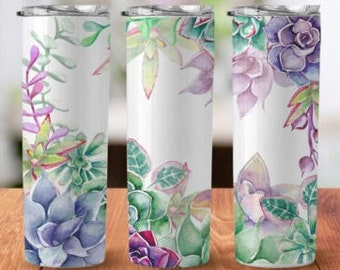 Succulent Tumbler Sublimation Wrap - Ready to Press Sublimation Transfer - 20 oz Straight or Tapered Tumbler, Succulents Transfer