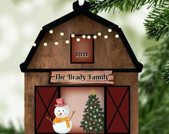 Barn Snowman Personalized Christmas Trees Ornament, Farm Ornament, Ranch Ornament, Ornament, Holiday Decoration, Gift Exchange, Snowmen