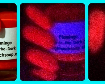 Glow-in-the-Dark Fluorescent Pink Nail Polish - FLAMINGO - FREE U.S. SHIPPING - Custom Nail Lacquer - Full Size Bottle