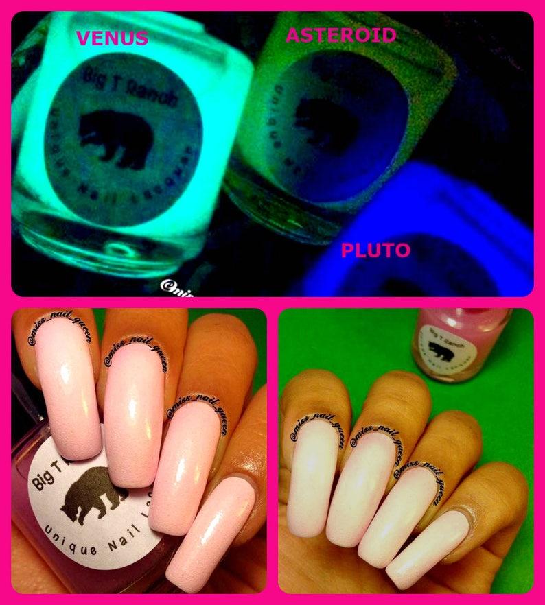 1207595cbe4 Glow-in-the-Dark Nail Polish Pink Glows Yellow ASTEROID