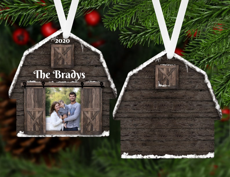 Farm Gift Personalized Ornament Name Ornament Picture Gift Ranch Holiday Custom Christmas Family Gift Barn Photo Christmas Ornament