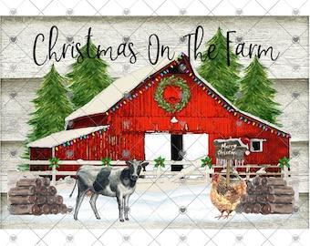 Christmas Barn Sublimation Transfer, Farm Transfer, Barn, Printed Sub, Christmas Cow, Chicken, Sublimation Design Transfer, Ready to Use