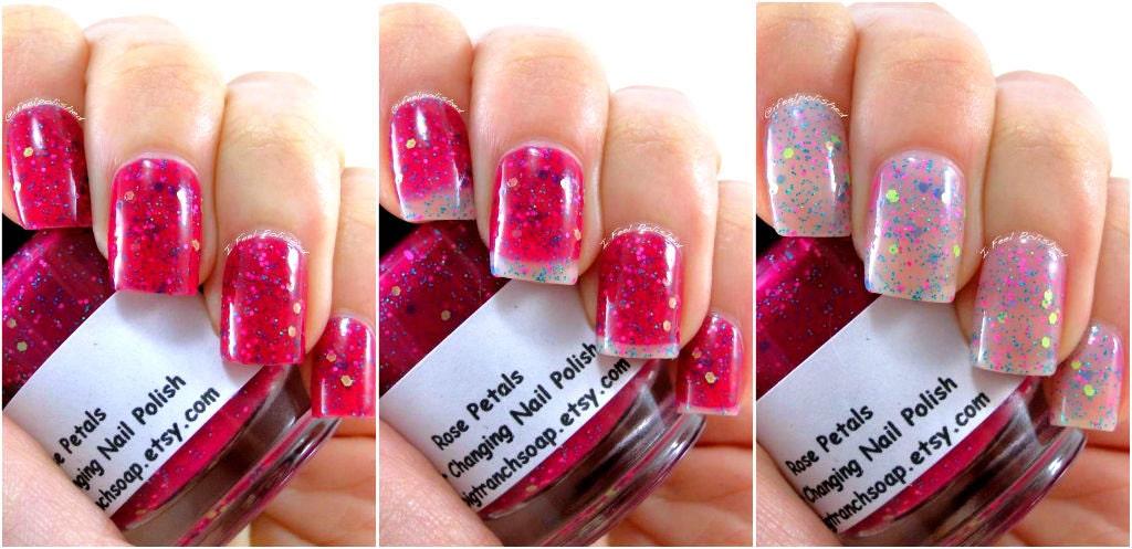 Color Changing Nail Polish Glitter Mood Nail Polish Rose | Etsy