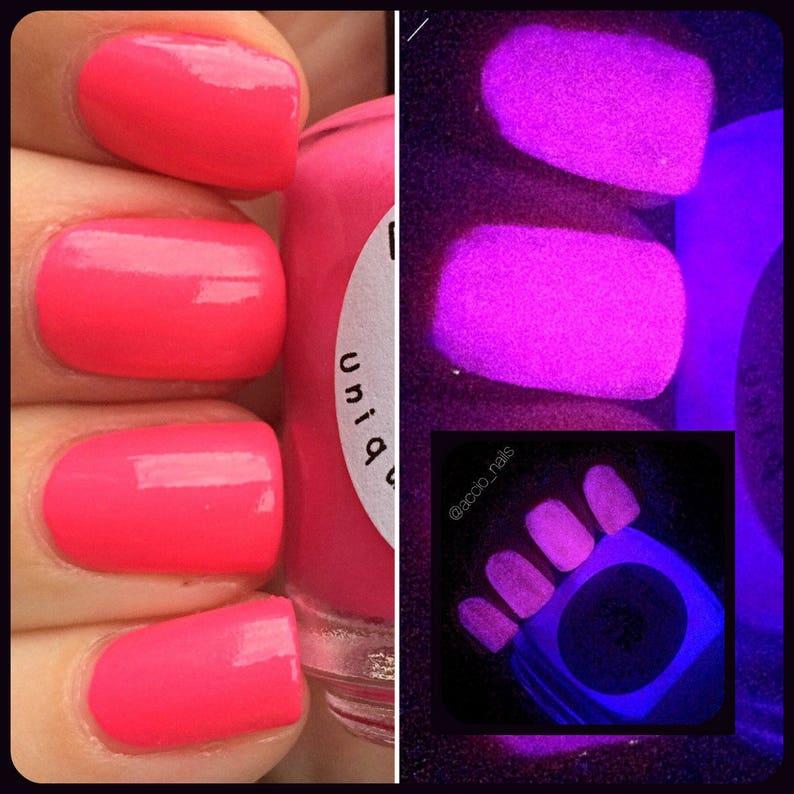 79fc223a3e3 Glow-in-the-Dark Nail Polish Pink Glows Purple FREE U.S.