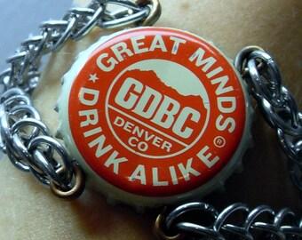 "Recycled Bottle Cap Chianmaille Bracelet, ""Great Minds Drink Alike"" Beer Cap, OOAK"