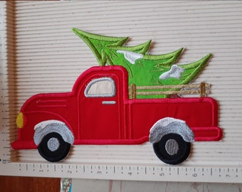 DIY Iron On Applique Patch Truck Christmas Red