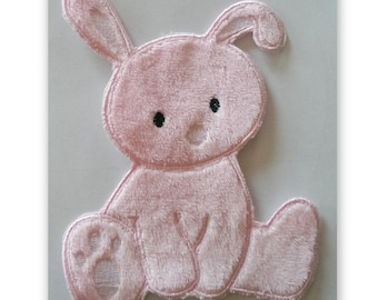 Fluffy Bunny (Iron on)  Applique, iron on patch, iron on PINK