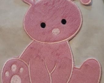 Fluffy Bunny (Iron on)  Applique, iron on patch, iron on DARK PINK