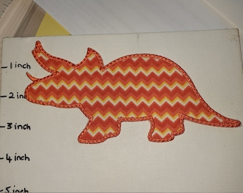 DIY Iron On Applique Patch, TRICERATOPS DINO
