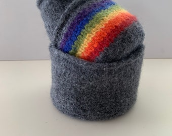 Felted wool Nesting Bowls in Charcoal and Rainbow