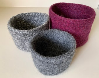 Wine & Charcoal Felted Nesting Bowls
