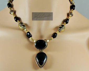 "NEW Ethnic Golden Brass and Black  Agate Tibetan Style Necklace & Earring SET 18""  Free Shipping in US"