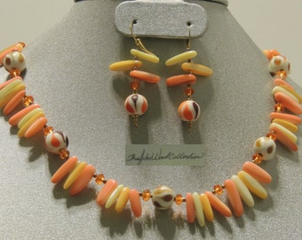 Tangerine, Yellow & Creme Dreamcicle Mother of Pearl Shell Necklace and Earring.  Free Shipping within the US