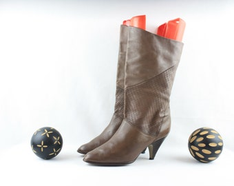 Vintage in pelle Beige stivali alti siberiano Shearling | Etsy