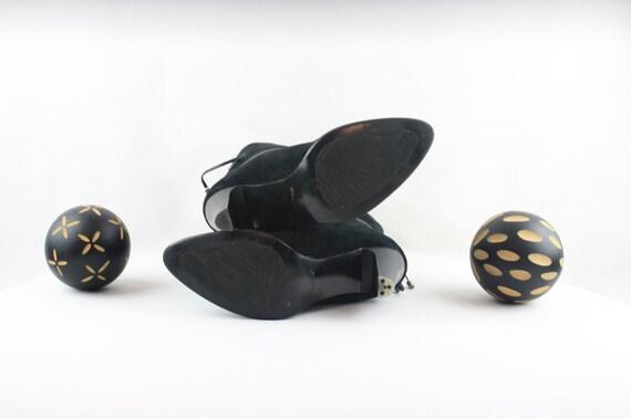 Vintage Ankle Boots. Size 6.5 Short Black Genuine… - image 6