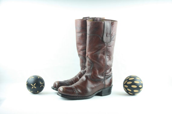 Men's Vintage Work Boots ~ Maroon Colored Boots ~