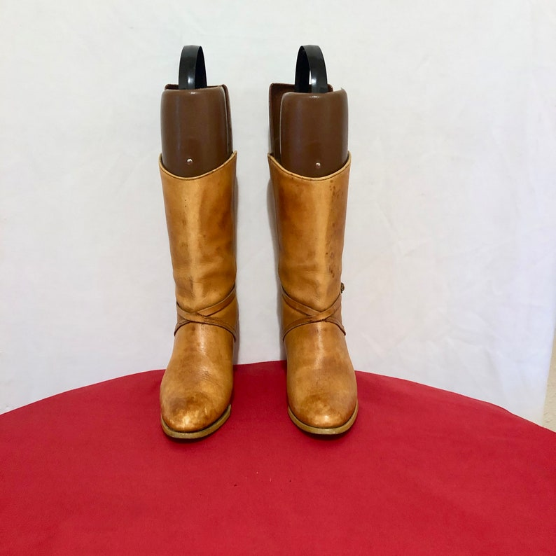 Size 8W Brown Genuine Leather 1980s Women High Heel Mid Calf Pull On Walking Boots. Vintage Ankle Boots