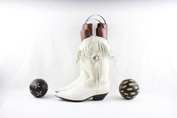 Size 6.5 Boots-Vintage White Boots- Women Western