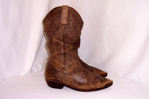 Sz 9.5 Men Vintage brown leather 1990s western sty