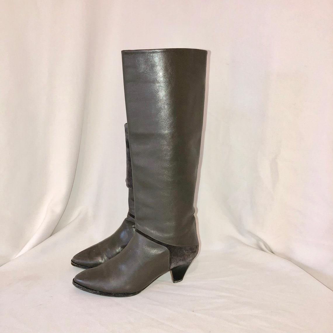 Sz 6 B Vintage Tall Gray Genuine Leather & Suede 1980s Women - Big Sale atXcc