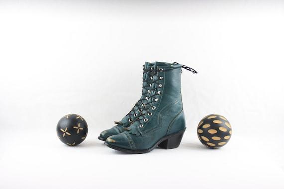 Vintage Ankle Boots. Size 6.5 Short Aqua Green Gen