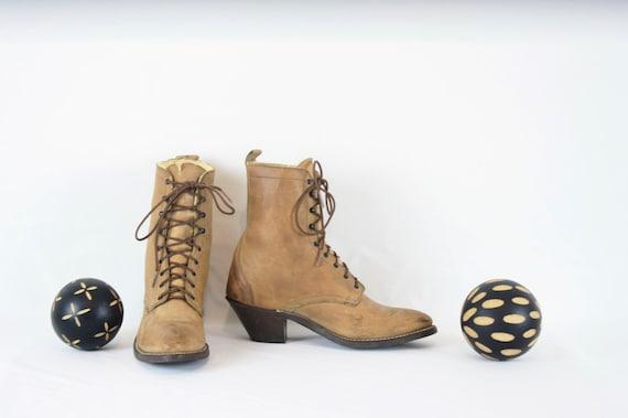 Vintage Ankle Boots. Size 8 Short Light Brown Gen… - image 3