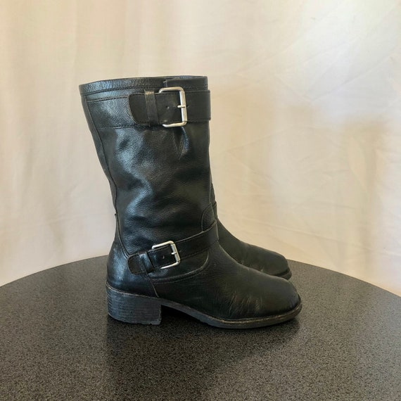 sleek shopping check out Sz 8.5 M Vintage Mid Calf Black Genuine Leather 1990s Women Pull On  Motorcycle Boots.