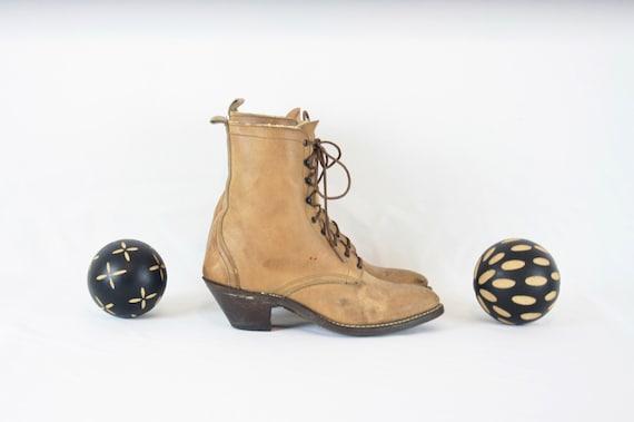 Vintage Ankle Boots. Size 8 Short Light Brown Gen… - image 4
