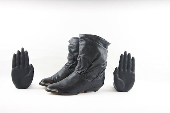 Vintage Slouch Boots. Size 6 Short Black Genuine L