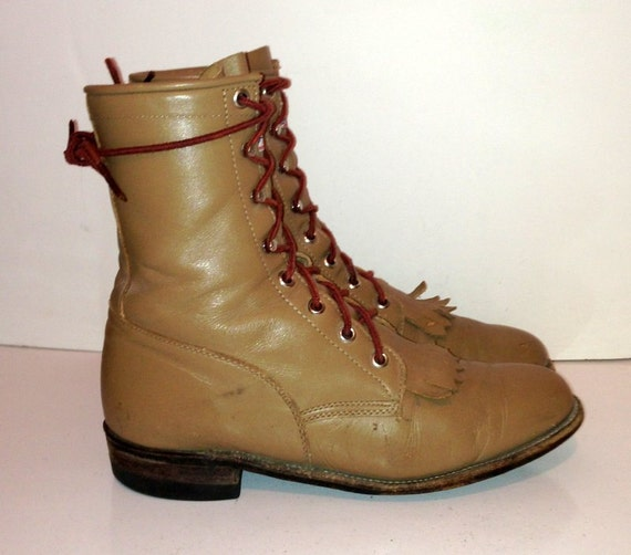 Size 7.5 Sz 7.5 Vintage light brown leather lace u