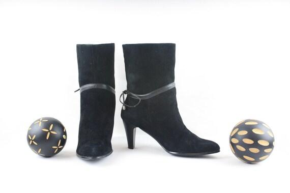 Vintage Ankle Boots. Size 6.5 Short Black Genuine… - image 3