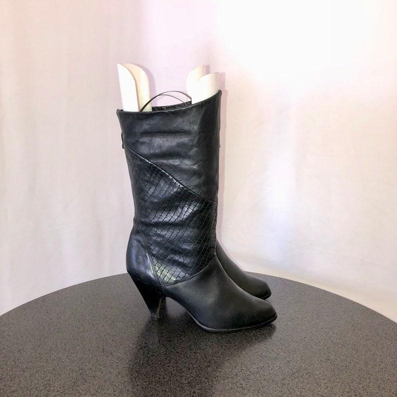 4902fc115ef7 Sz 8 Vintage Black Genuine Leather 1980s Women Pull On High