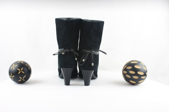 Vintage Ankle Boots. Size 6.5 Short Black Genuine… - image 5