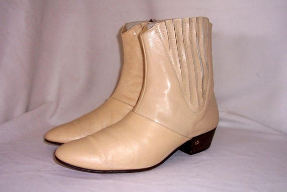 Sz 9 Vintage Short Beige Genuine Leather 1960s Men
