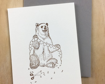 love bear - single letterpress greeting card