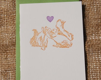I want to kiss you -single letterpress greeting card