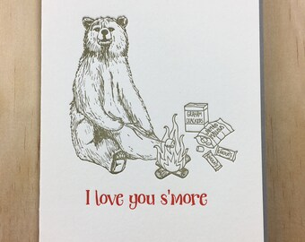 S'more love - single letterpress greeting card