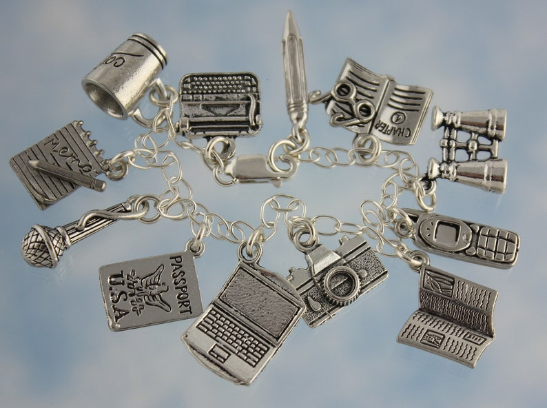 Hens Pewter Fowl Charms on Sterling Silver Chain- Sizes XS-XL Chickens /& Eggs Charm Bracelet Night Owl Jewelry Roosters