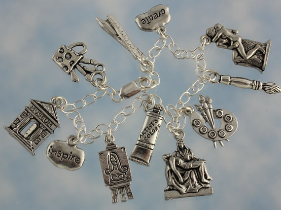 Sterling Silver 27mm Cat with 7.5 Charm Bracelet Jewels Obsession Cat Pendant