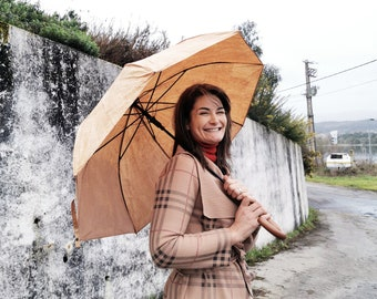 Cork made umbrella,  original cork and a wooden handle, mother's day umbrella gift, rainy days gift