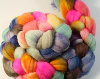 Rambouillet Wool Roving - Hand Painted - Hand Dyed for Spinning or Felting - 4oz - Color Play #367