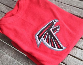 Baby Personalized ATL Football Onesie Customized Embroidered Monogram Baby Infant Short Sleeve Onsie Body T-Shirt-Red/Black/White/Gray