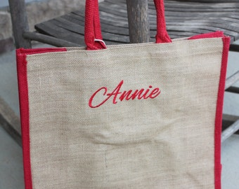e2abfa732c Personalized Monogrammed Embroidered Natural Jute Two Tone Tote Bag Burlap Shopping  Bag Large Natural Tote Beach Craft Burlap Red Tote Bag