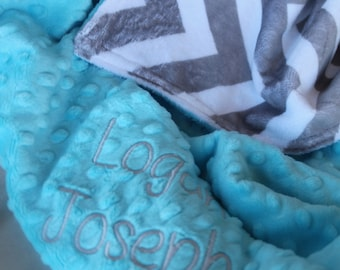 Personalized Embroidered Minky Chevron Nursing Baby Cuddle Soft and Comfy 28x35 Blanket Gray Chevron/Light Turquoise Shown