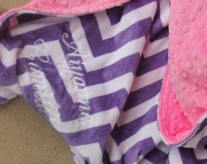 Personalized, Embroidered, Minky, Chevron, Crib, Nursing, Baby, Cuddle, Soft and Comfy 28x35 Baby/Toddler Blanket, Jewel Chevron, Hot Pink