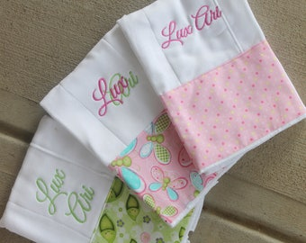 Baby Girl Burp Pink Turquoise Green Butterfly Floral Prints Burp Cloth Baby Diaper Burp Cloths Embroidered Diapers Monogram Diaper Burpies
