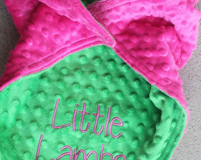 Baby Toddler Kids Minky Personalized Monogrammed Embroidered Soft and Comfy Chenille Securit Lovie Tags Two Color Customized 17x17 Blanket