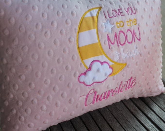 I Love You to the Moon and Back Soft Minky Chenille Personalized Baby 12x16 Pillowcae WITH OR WITHOUT Insert in Your Color Choice