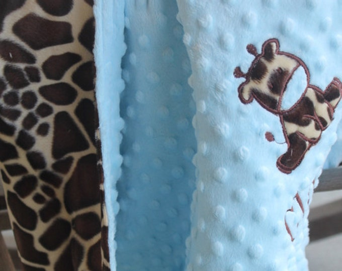 Giraffe Baby/Toddler/Kids Minky Personalized Monogrammed Embroidered Soft and Comfy Chenille School Nap Nursery Baby/Toddler 30x36 Blanket